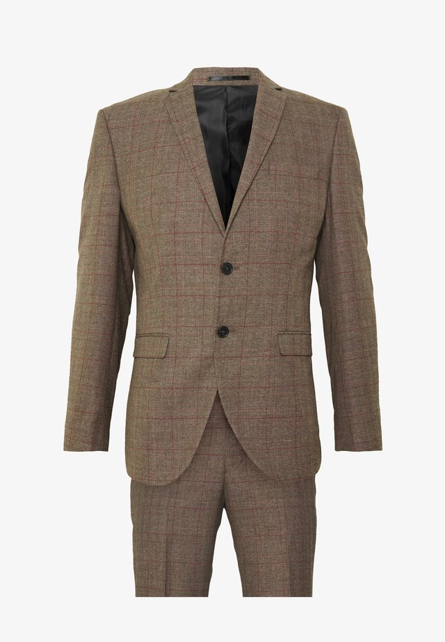 SLHSLIM MYLOLOGAN CROCUS SUIT - Garnitur - brown sugar/red