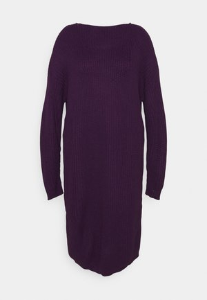 OPEN BACK INSERT DRESS - Stickad klänning - mulberry