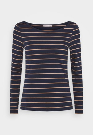 Long sleeved top - dark blue/camel