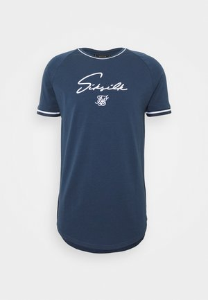SIGNATURE PIPED TECH TEE - Print T-shirt - navy