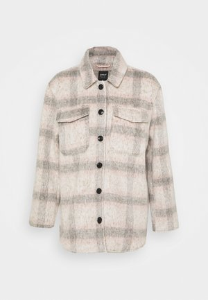 ONLKAWI CHECK SHACKET - Abrigo corto - light grey melange/pink/grey