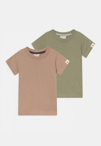 2 PACK UNISEX - Basic T-shirt - brown/green