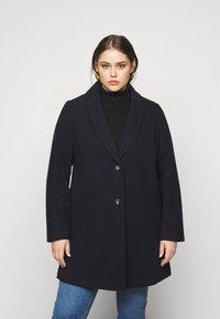 Dorothy Perkins Curve - MINIMAL SHAWL COLLARCROMBIE COAT - Short coat - navy - 0