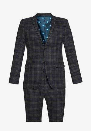 BRUSHED CHECK SUIT - Suit - black