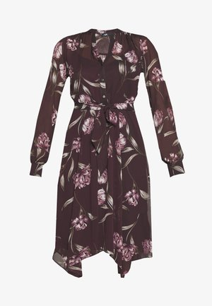 FLORAL HANKY HEM DRESS - Skjortekjole - burgundy