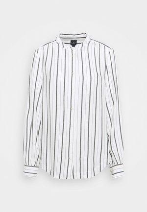 SHIRRED - Button-down blouse - black/white