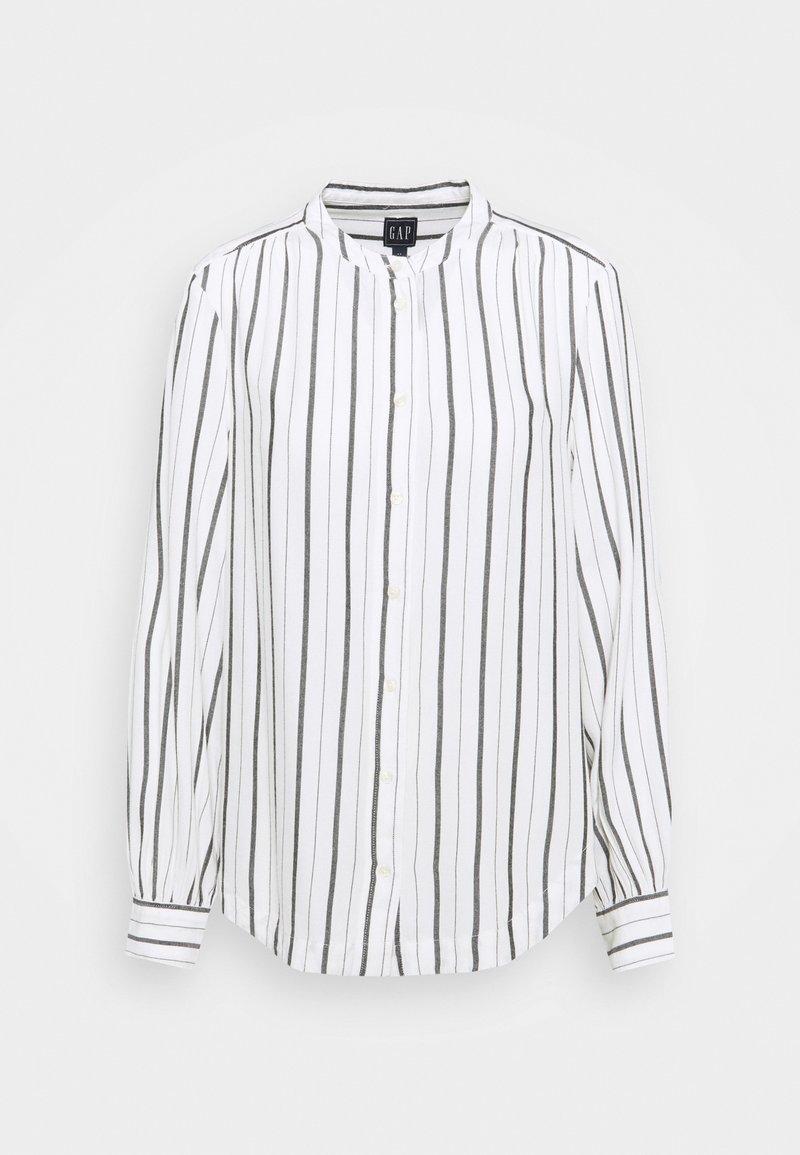 GAP - SHIRRED - Button-down blouse - black/white