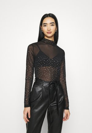 DECORATED - Long sleeved top - black