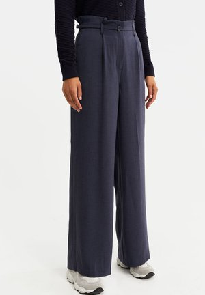 HIGH WAIST - Trousers - greyish blue