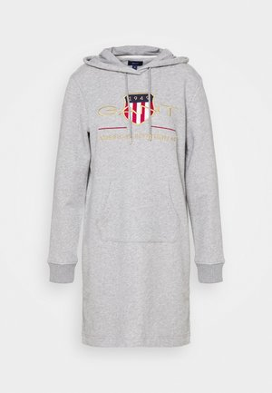 ARCHIVE SHIELD HOODIE DRESS - Denní šaty - grey melange