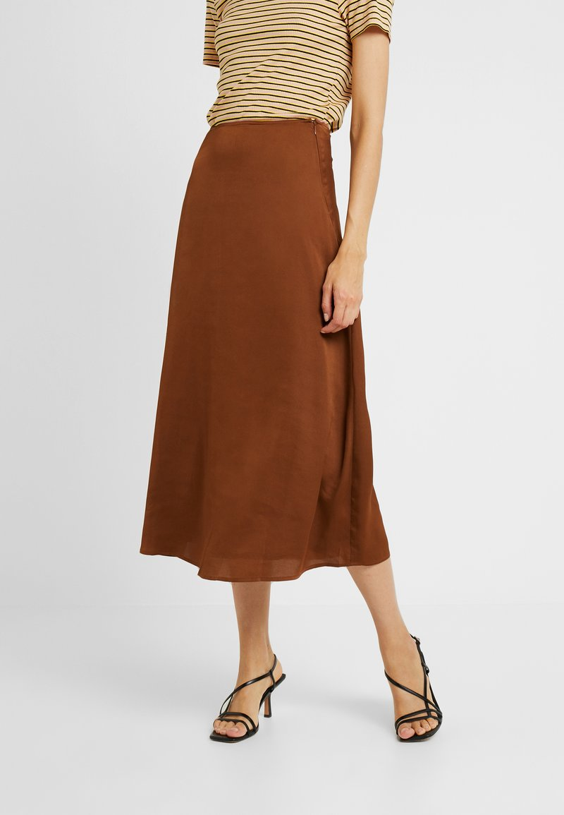 PIECES Tall - PCSANDRA MIDI SKIRT - A-line skirt - bison