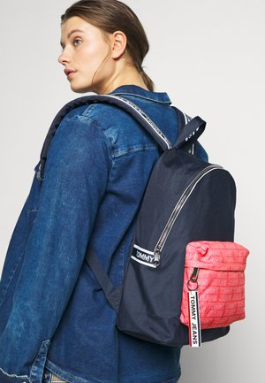 LOGO TAPE DOME BACKPACK - Rucksack - dark blue/pink