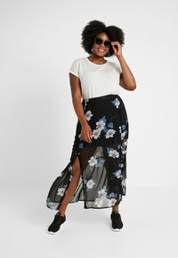 Simply Be - DOUBLE SPLIT GEORGETTE SKIRT - Maxi skirt - black - 1