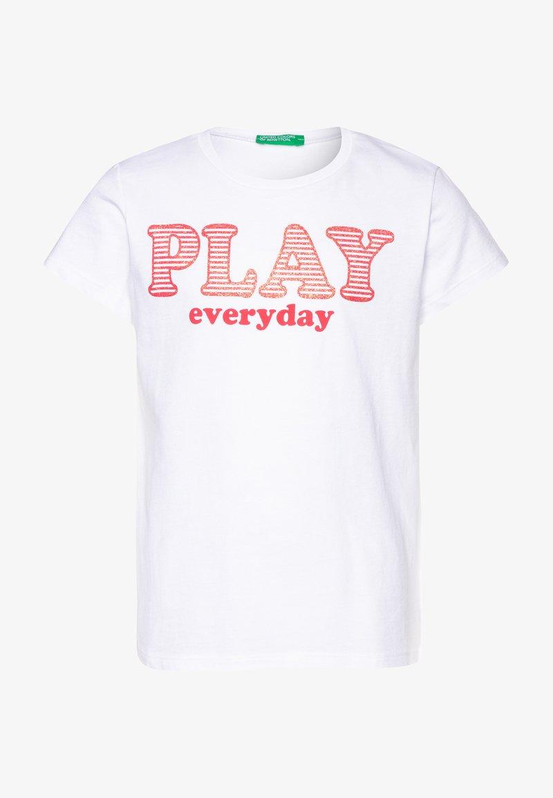 Benetton - T-shirt con stampa - white