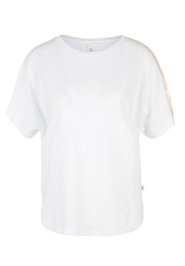 MIT PAILLETTEN - Print T-shirt - white