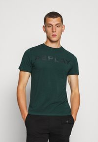 Replay - T-shirt con stampa - bottle green - 0