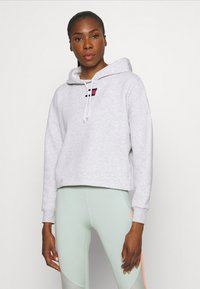 Tommy Hilfiger - CROPPED HOODY FLAG LOGO - Hoodie - ice heather - 0