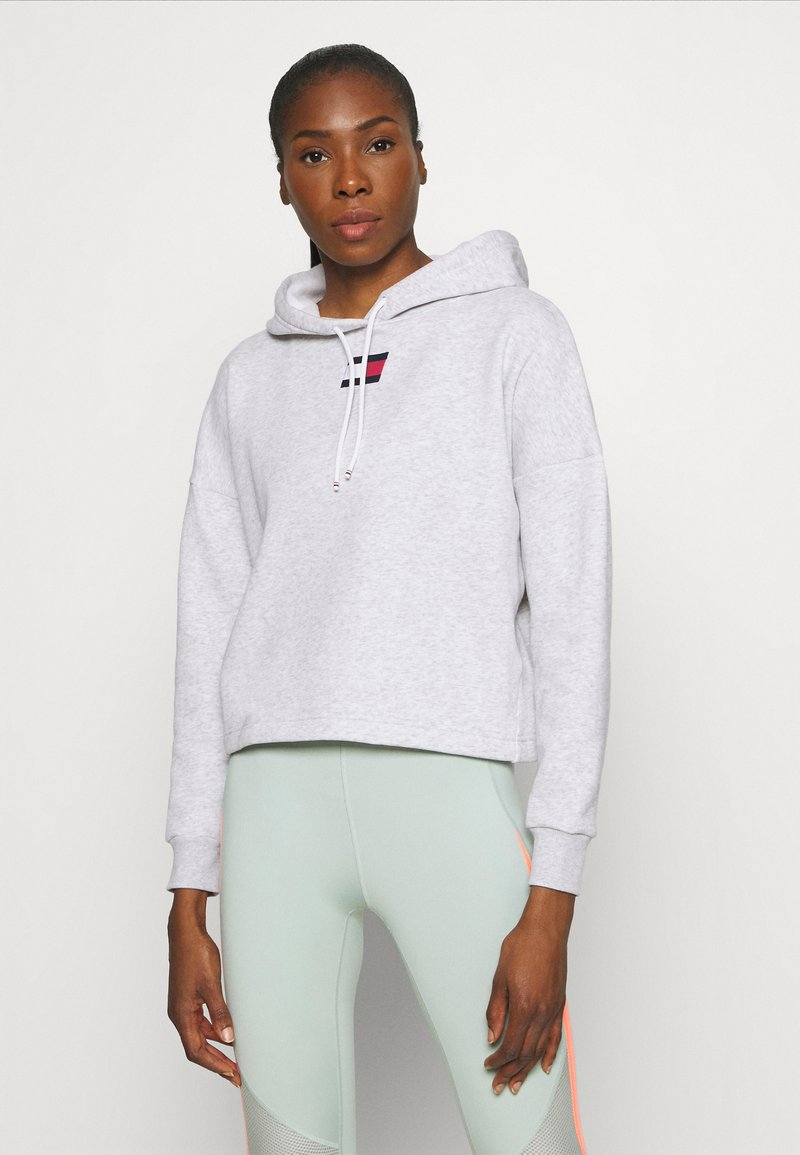 Tommy Hilfiger - CROPPED HOODY FLAG LOGO - Hoodie - ice heather