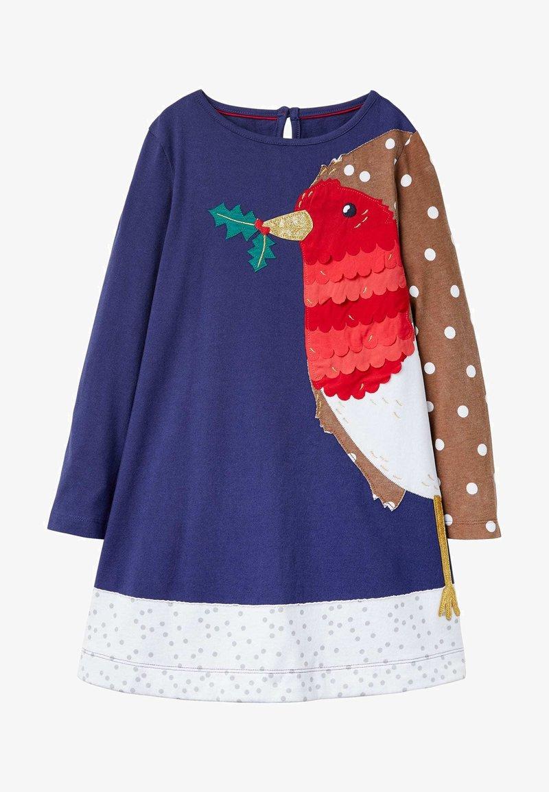 Boden - Jersey dress - segelblau, rotkehlchen