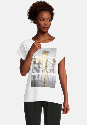 Print T-shirt - white/gold