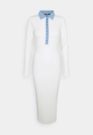 CONTRAST COLLAR PLACKET MIDAXI DRESS - Jersey dress - ivory