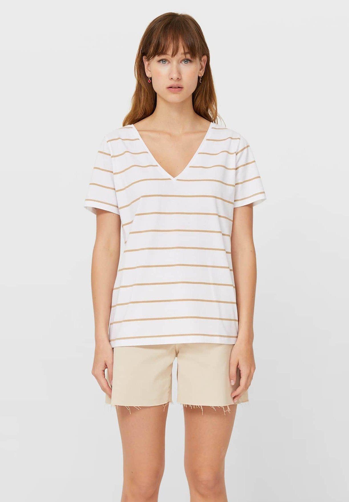Damen MIT V-AUSSCHNITT UND STREIFEN  - T-Shirt print