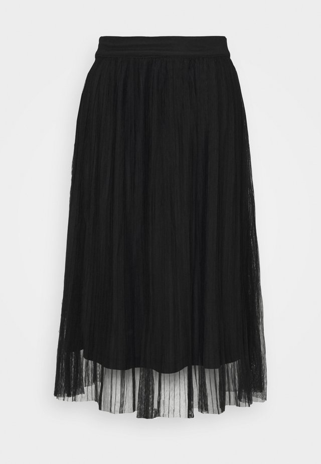 CRINKLE MIDI SKIRT - Pleated skirt - black