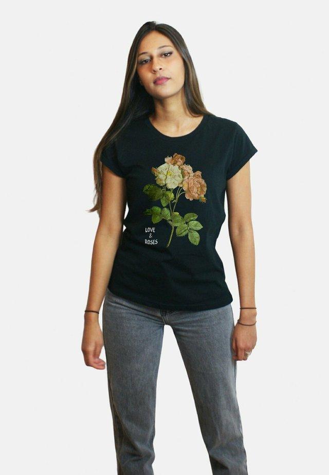 ROSES LARGE WTSRU - T-shirt imprimé - black