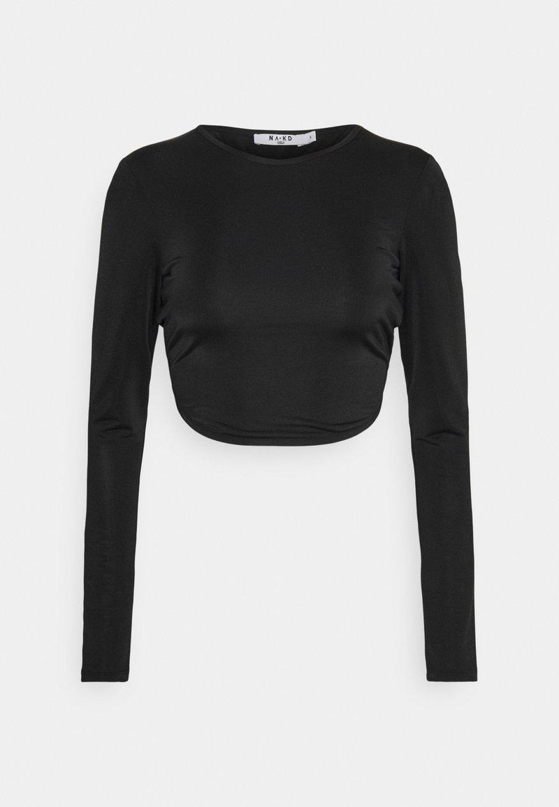 NA-KD - OPEN BACK TIE  - Long sleeved top - black