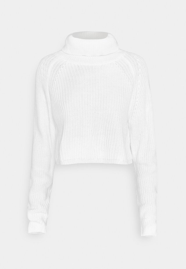 ROLL NECK BATWING CROP JUMPER - Pullover - off white