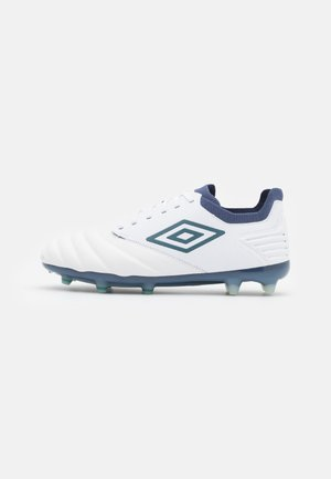 TOCCO PRO FG - Moulded stud football boots - white/goblin blue/sargasso sea