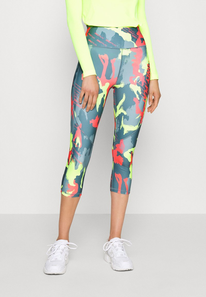 ONLY PLAY Tall - ONPALECXIA LIFE TIGHT - Leggings - Trousers - goblin blue/safety yellow
