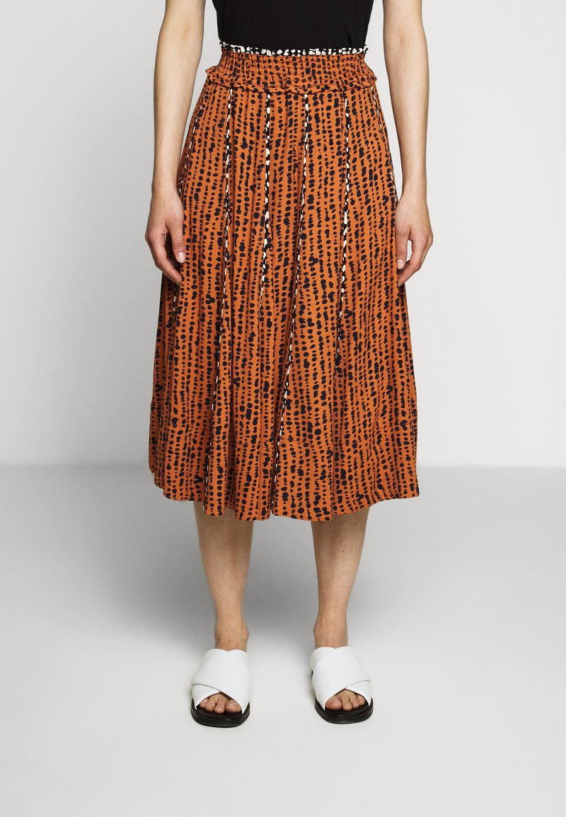 Proenza Schouler White Label - PRINTED GEORGETTE PLEATED SKIRT - A-line skirt - cinnamon/navy