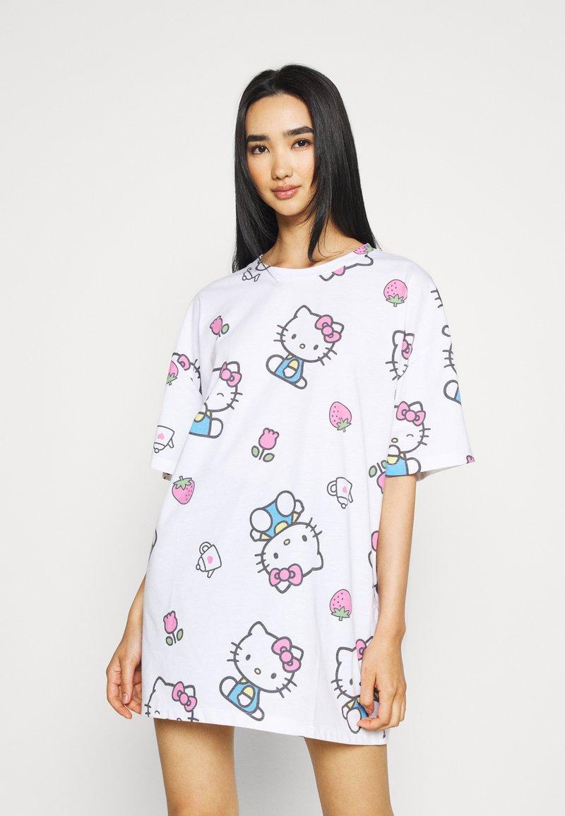 NEW girl ORDER - HELLO TEE DRESS - Vestito di maglina - white