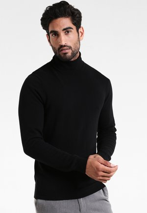 BASIC ROLL NECK - Strickpullover - black