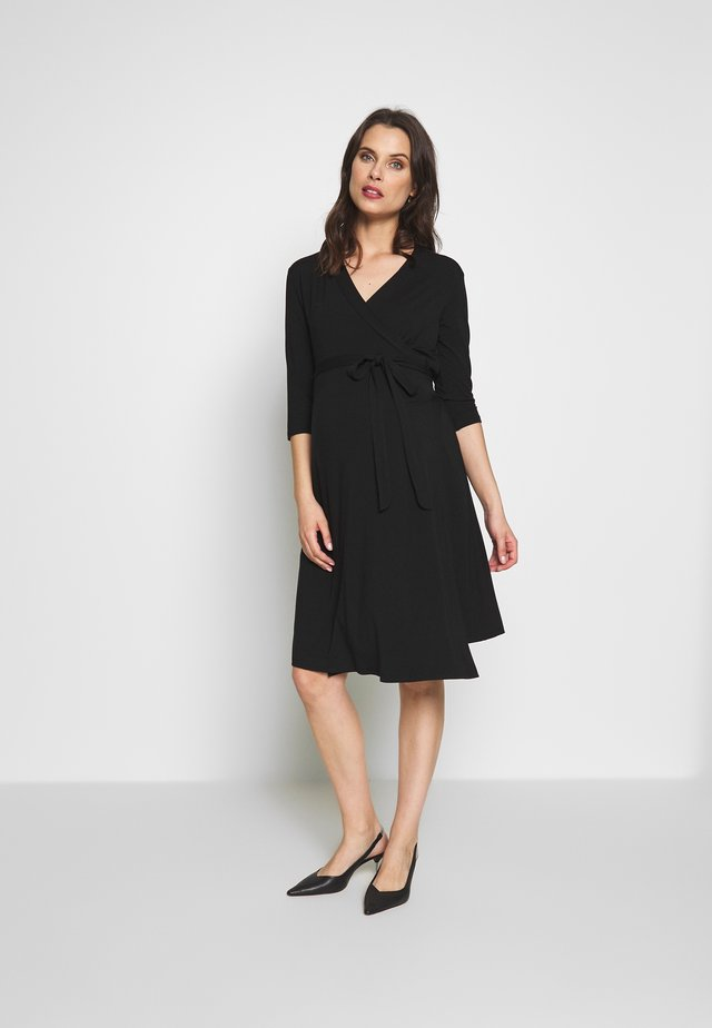 LONG SLEEVE WRAP DRESS - Jersey dress - black