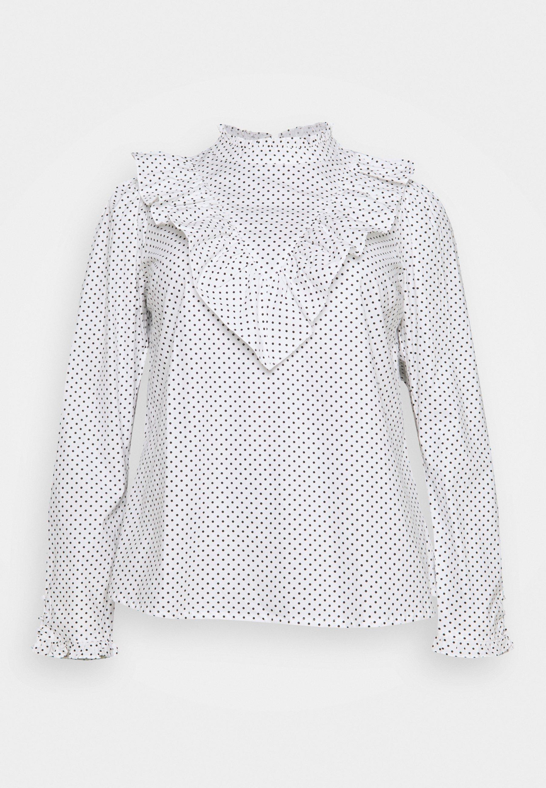 Women HIGH NECK RUFFLE FRONT BLOUSE - Long sleeved top