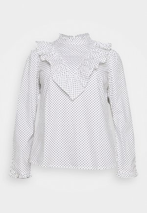 HIGH NECK RUFFLE FRONT BLOUSE - Long sleeved top - white