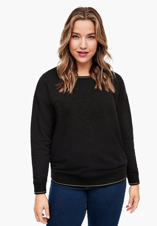 Sweatshirt - black embossed heart