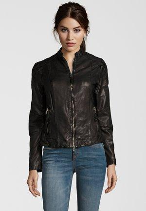 MIT STEHKRAGEN - Leather jacket - black