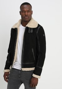 Gipsy - AIR FORCE - Leather jacket - schwarz/beige - 0