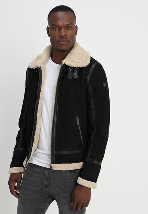 AIR FORCE - Leather jacket - schwarz/beige