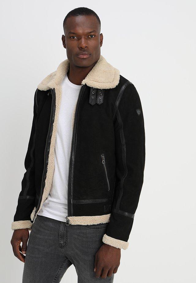 AIR FORCE - Veste en cuir - schwarz/beige