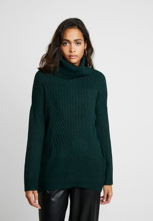 LONGLINE ROLL NECK JUMPER - Pullover - forest green