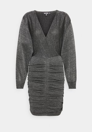 METALLIC RUCHED FRONT BATWING DRESS - Jumper dress - black
