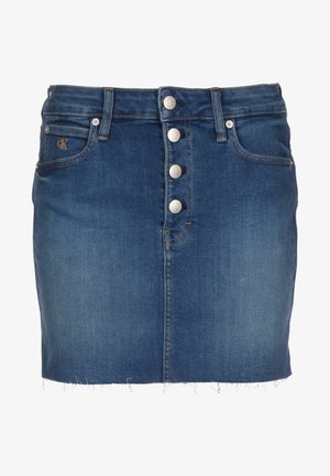 ROCK MID RISE MINI W - Denim skirt - mid blue