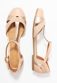 Anna Field - LEATHER BALLERINAS - Ankle strap ballet pumps - beige