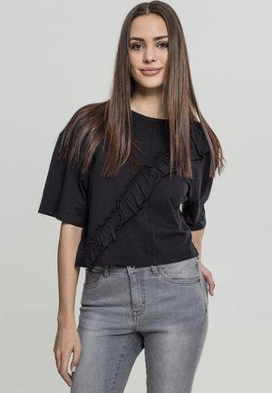 LADIES SHORT OVERSIZE VOLANT TEE - Basic T-shirt - black