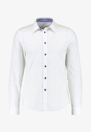CONTRAST BUTTON SLIMFIT - Shirt - white/blue