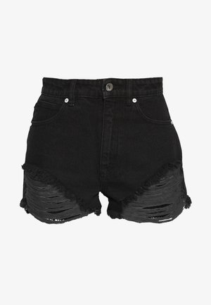 A HIGH RELAXED SHORT - Denim shorts - black salt